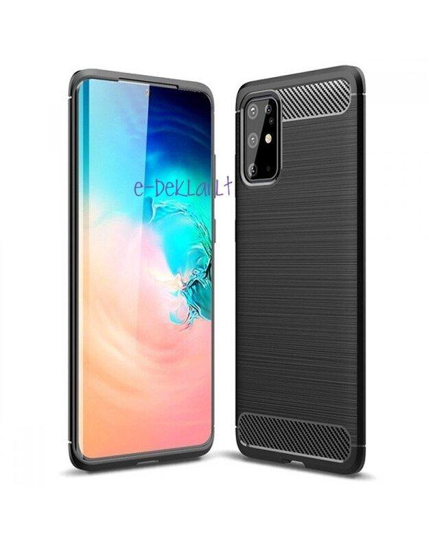 Dėklas silikoninis Samsung S21 Carbon Lux, juodas