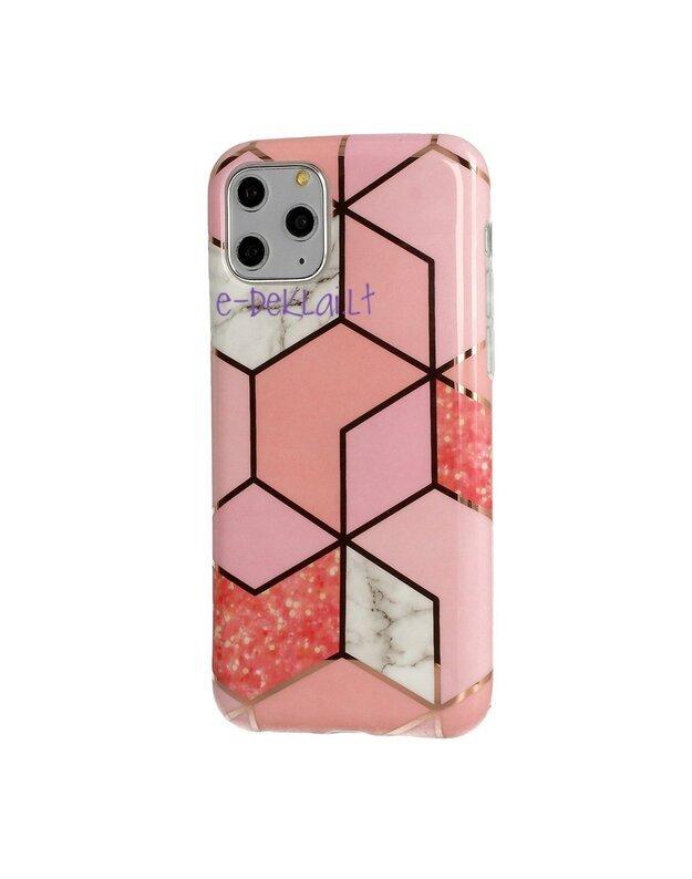 Dėklas Apple iPhone XR Cosmo Marble, rožinis