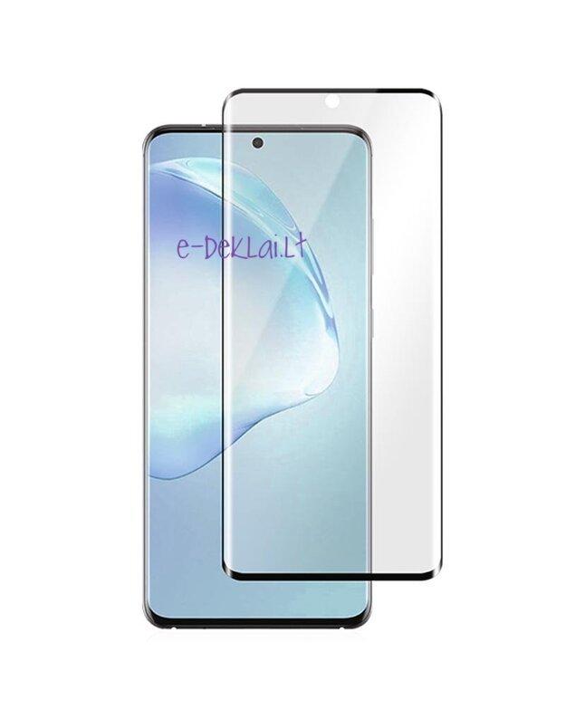 Apsauginis stikliukas Samsung G973 S10 5D pilnai dengiantis ekraną, su juodu rėmeliu be išpjovimo (naudojimui be piršto antspaudo, pilnai limpantis)